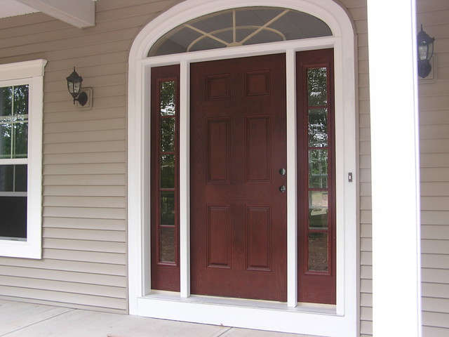 Front Door With Sidelights Repairs Ny: Wood Entry Door With Transom And Sidelights