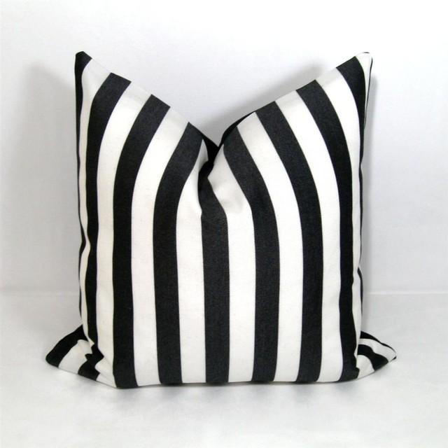 Black White Stripe Outdoor Decor Cushion Modern Garden