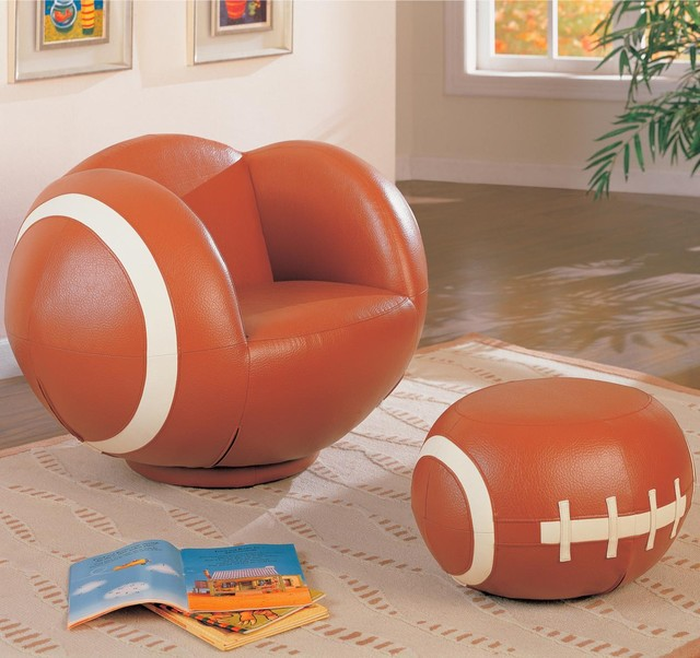 kids sports chairs large kids football chair and ottoman by coaster modern game room and bar. Black Bedroom Furniture Sets. Home Design Ideas