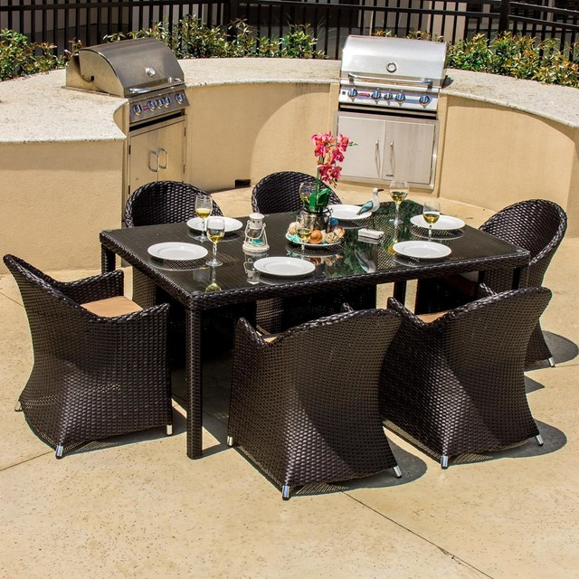 Providence 6 Person Resin Wicker Patio Dining Set Modern Outdoor Dining S