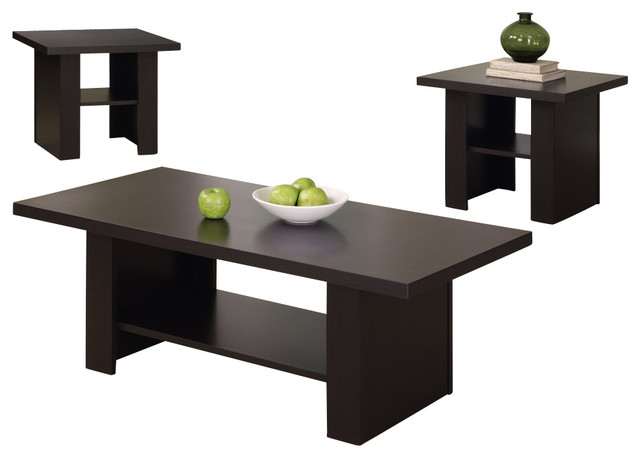 3 Pc Occasional Table Set In Cappuccino Contemporary