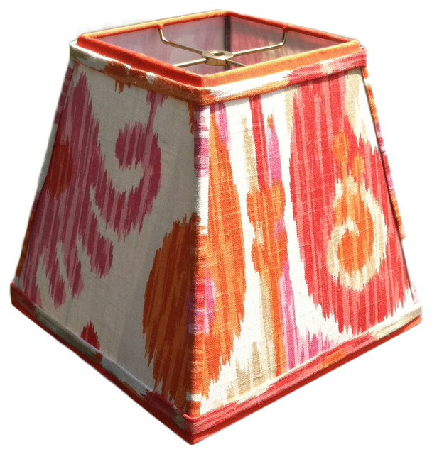 Square Lamp Shade Raspberry Coral And Fuschia Ikat