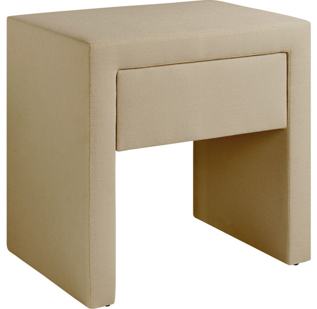 ... Chevet en tissu beige clair contemporain-table-de-chevet-et-table-de