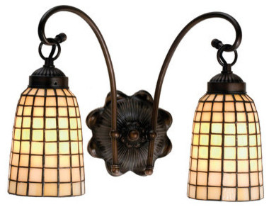 Stained Glass Vanity Light Fixtures : Meyda Tiffany 18646 Stained Glass / Tiffany 2 Light 14.5