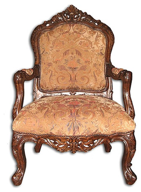 New Accent Chair Gold Italian Fabric Traditional