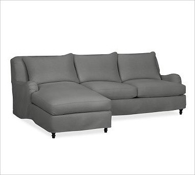 Carlisle Slipcovered Right 2 Piece Sectional With Chaise