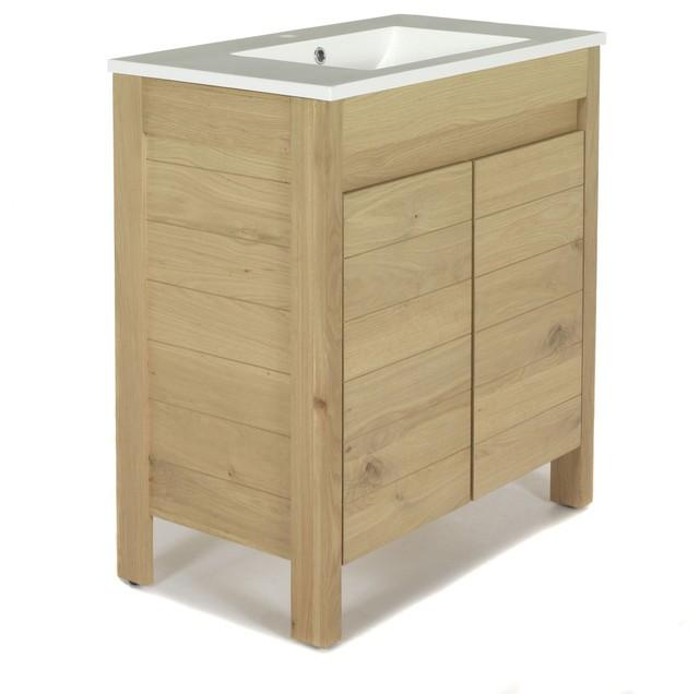 Native meuble de salle de bains en ch ne 80cm - Meuble console contemporain ...
