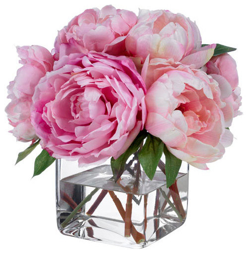 Silk Floral Arrangement Faux Mixed Pink Peonies With