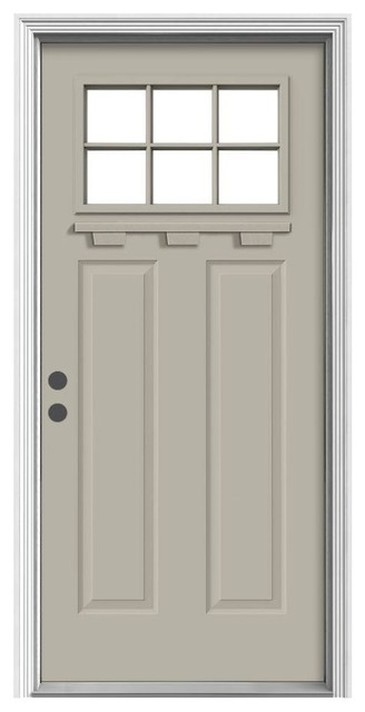 Jeld wen 6 lite craftsman painted steel entry door with for Jeld wen exterior doors
