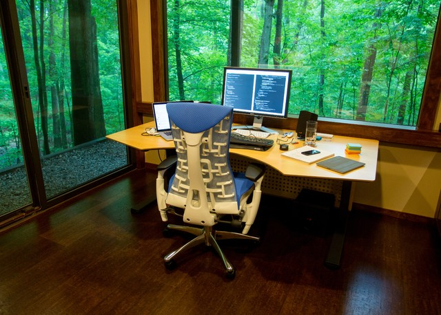 Bright Home Office From Former Dark Room Asian Grand