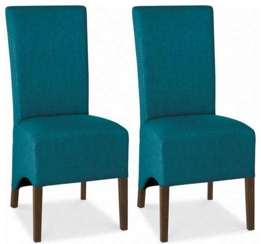 Bentley Designs Nina Walnut Dining Chair Teal Wing Back