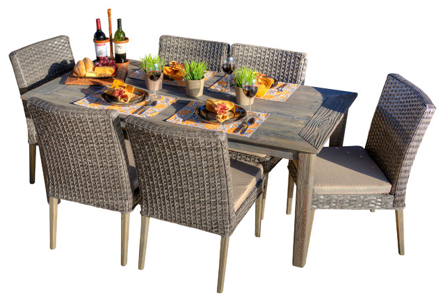 Paco 7 Piece Antique Grey Hard Wood Grey All Weather Wicker Patio Dining Set