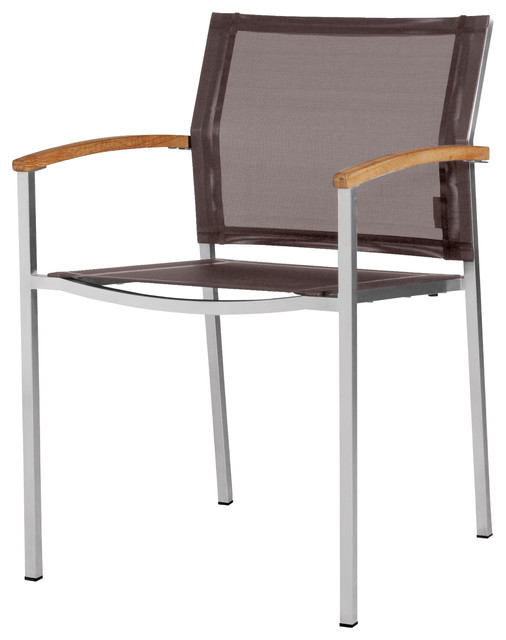 Zix Stacking Chair Dark Taupe Arm Chair Contemporary Outdoor Dining Cha