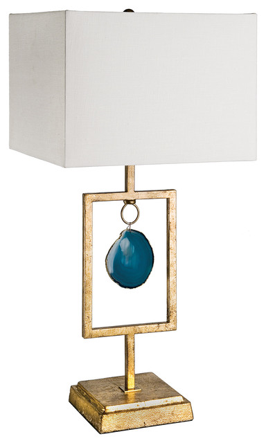 Alegra Global Bazaar Antique Gold Teal Agate Lamp