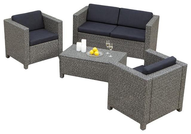 venice 4 piece outdoor wicker sofa set contemporary. Black Bedroom Furniture Sets. Home Design Ideas