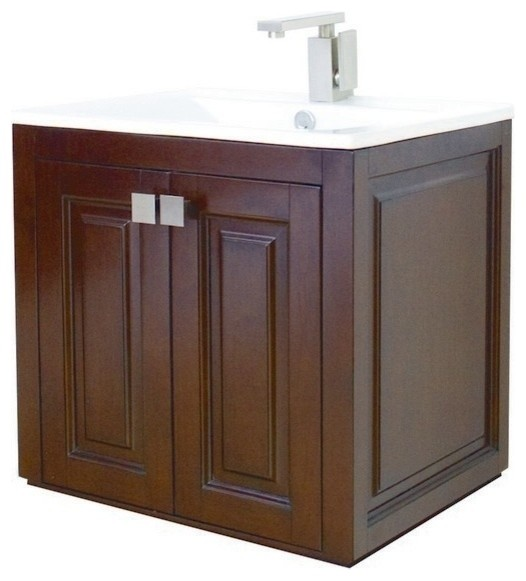 American imaginations flair wall mount birch wood veneer vanity base only traditional for Wall mounted bathroom vanity cabinet only