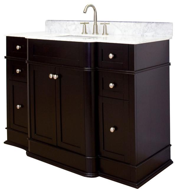 vanity set in dark mahogany 50 x22 traditional bathroom vanit