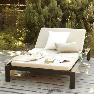 Wood Slat Double Lounger Modern Outdoor Chaise Lounges
