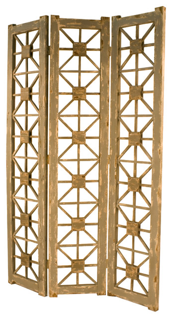 6 Ft Tall Solid Frame Fabric Room Divider 4 Panels: Tuscany 3-Panel Gray Screen
