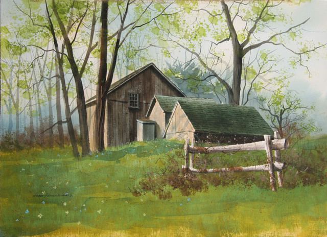 James Feriola Spring Farm Watercolor Painting in Black Ink Farmhouse Fi