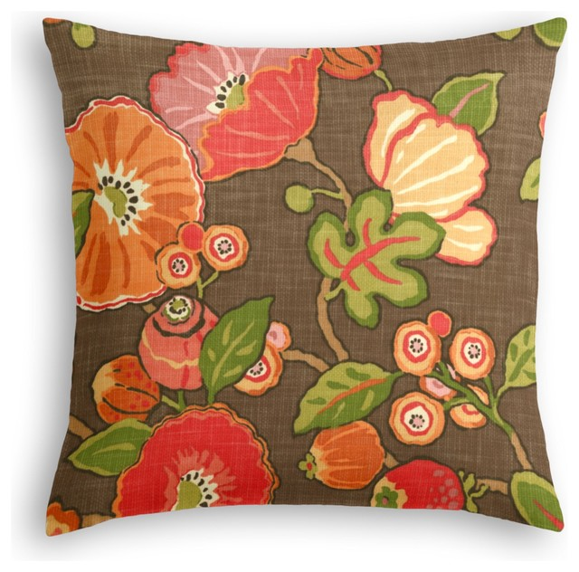 Red & Orange Modern Floral Custom Throw Pillow - Modern - Decorative Pillows - by Loom Decor
