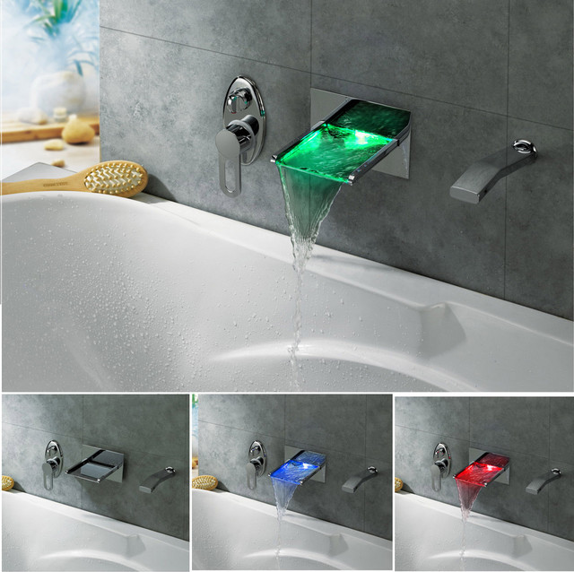 Led Color Changing Waterfall Wall Mounted Bath Tub Filler Modern Bathroom Faucets And