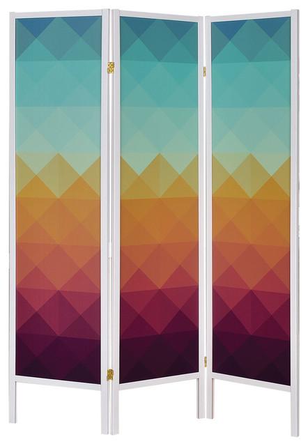 3 Panel Folding Floor Screen With Geometric Print