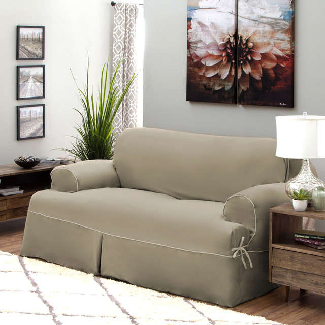 Tailor Fit Twill Relaxed Fit T Cushion Sofa Slipcover Contemporary Sofas By