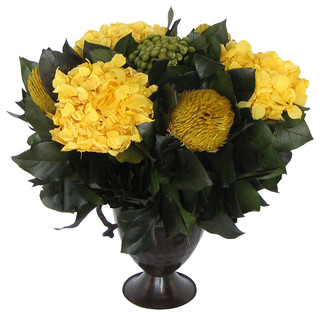 Small Metal Trophy Vase, Yellow Brunia, Banksia, and Hydrangea - Traditional - Artificial Flower ...
