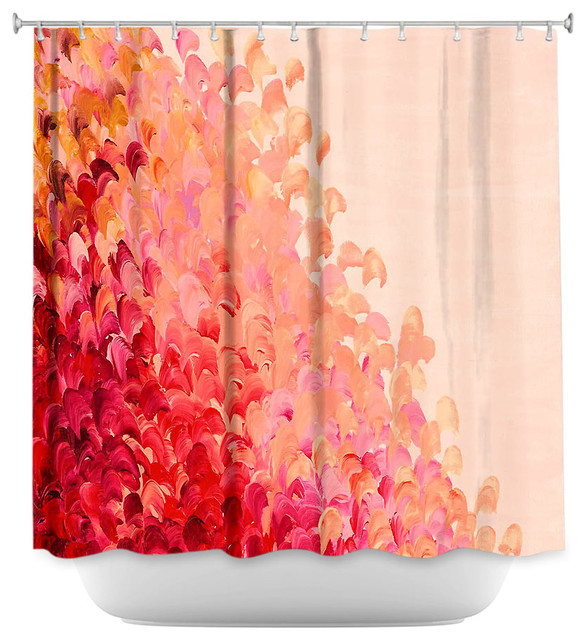Shower Curtain Artistic Creation In Color Coral Pink Modern Shower Curtains By Dianoche