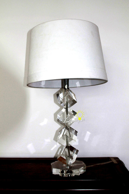 Modern Fabric And Crystal Table Lamp 5 Contemporary