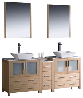 Fresca torino 72 modern double sink bathroom vanity light oak modern bathroom vanity units - Light oak bathroom vanity units ...
