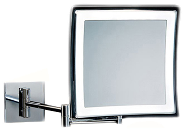 wall mounted rectangular led lighted 5x magnifying mirror contemporary makeup mirrors by. Black Bedroom Furniture Sets. Home Design Ideas