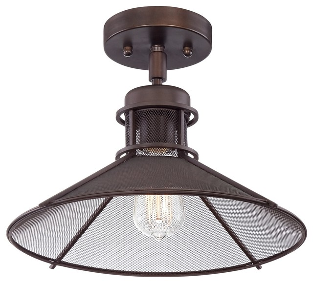 "Glasgow Industrial 14"" Wide Oil-Rubbed Bronze Ceiling"