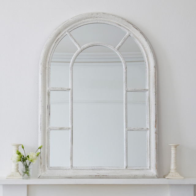 distressed round top wooden wall mirror - Farmhouse - Wall Mirrors ...