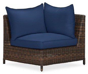 Torrey All-Weather Wicker Corner Sectional Cushion Slipcover, Ink Blue - Traditional - Outdoor ...