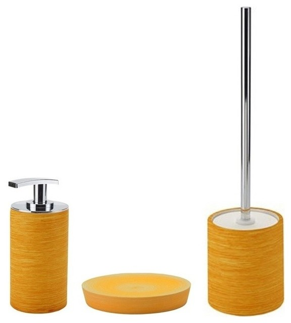 Orange bathroom accessories interiors design for Cream bathroom accessories set