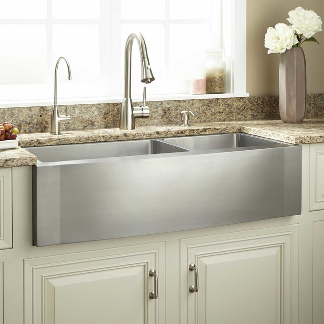 Farmhouse Sink With Divider : ... Stainless Steel Farmhouse Sink - Wave Front traditional-kitchen-sinks
