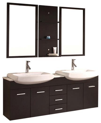60 Espresso Double Sink Bathroom Vanity Modern Bathroom Cabinets