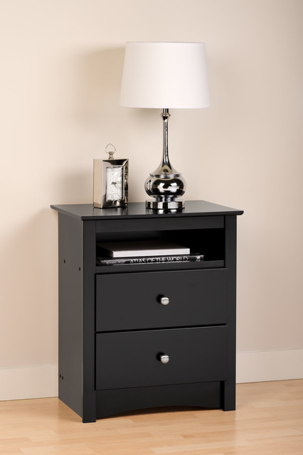 prepac sonoma 2 drawer tall nightstand with open cubbie in black modern nightstands and. Black Bedroom Furniture Sets. Home Design Ideas
