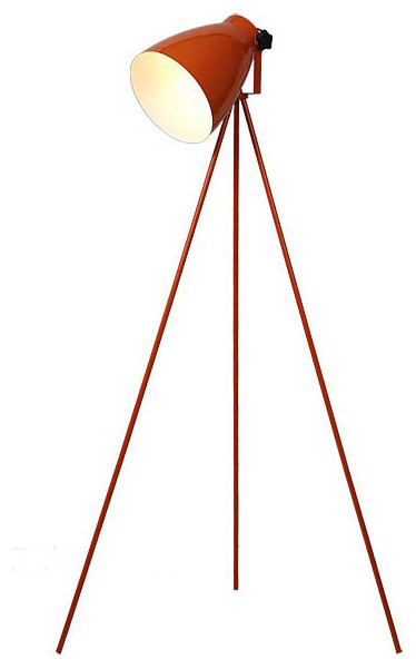 Modern Simple Orange Baked Metal Floor Lamp Contemporary