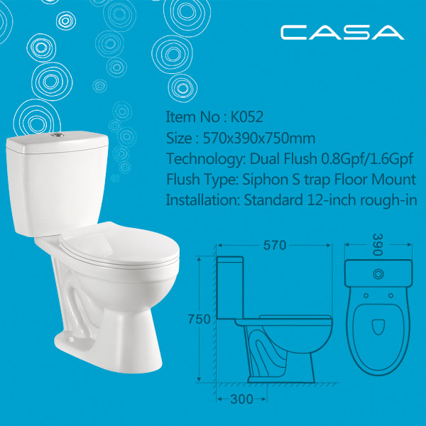 Two-piece Bathroom Ceramic Toilet/Siphonic Water Closet