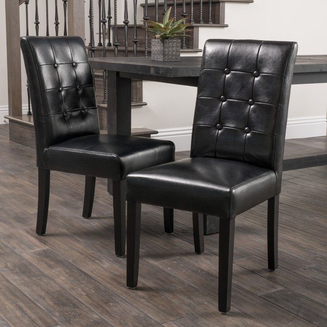 Black Dinning Room Chairs: Christopher Knight Home Roland Black Leather Dining Chairs