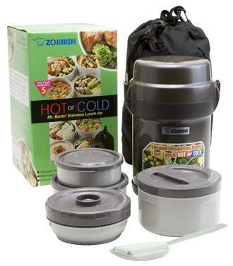 Zojirushi Mr. Bento Stainless Steel Lunch Jar, Gun Metallic, Microwaveable - Traditional - Lunch ...