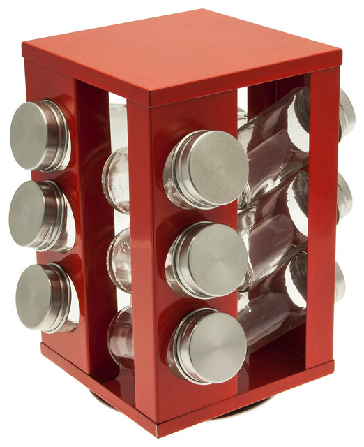 Porte pices carrousel m tal rouge moderne bocal - Bocal rangement cuisine ...