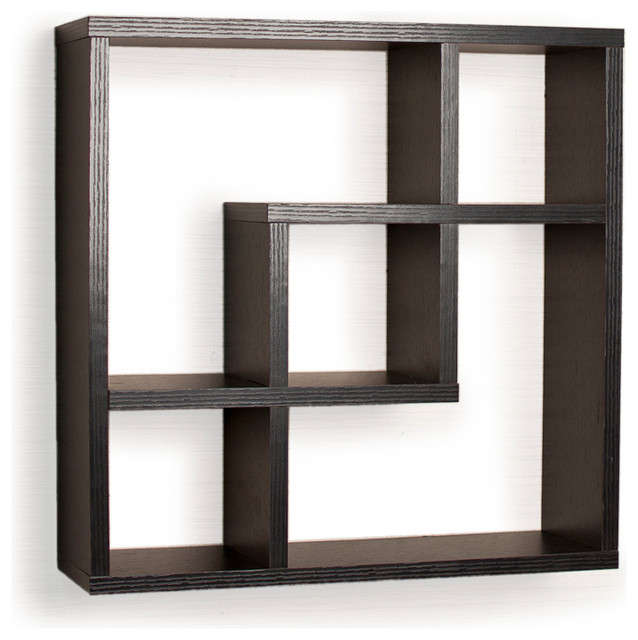 Geometric Square Wall Shelf with 5 Openings - Contemporary - Display And Wall Shelves - by Danya B