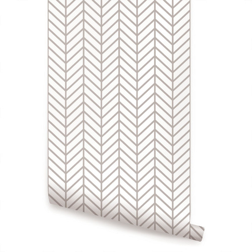 "Herringbone Line Wallpaper, Peel and Stick, Warm Gray, 24""x108"""