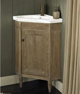 "Fairmont Designs Rustic Chic 26"" Corner Vanity & Sink Set - Weathered ..."