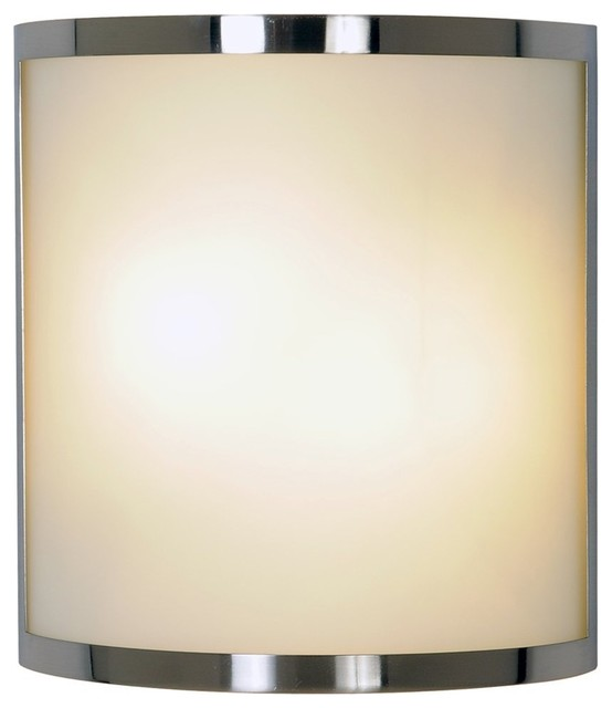 Monument Lighting Contemporary Wall Sconce, Brushed Nickel, Frosted Glass - Contemporary - Wall ...