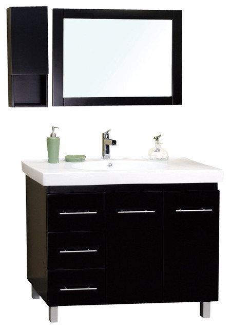 39 in single sink vanity wood black left side - Bathroom vanity with drawers on left ...